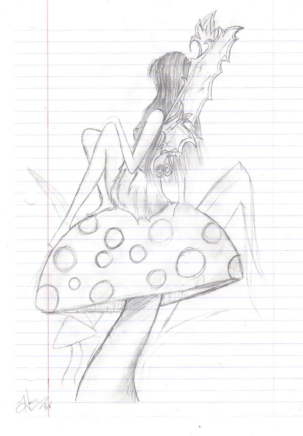 Fairy sitting on mushroom by hachimomochan on deviantart for Fairy on a mushroom drawing