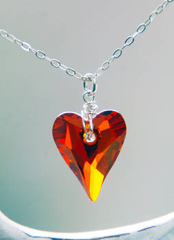 Red Magma Wild Heart Crystal Necklace