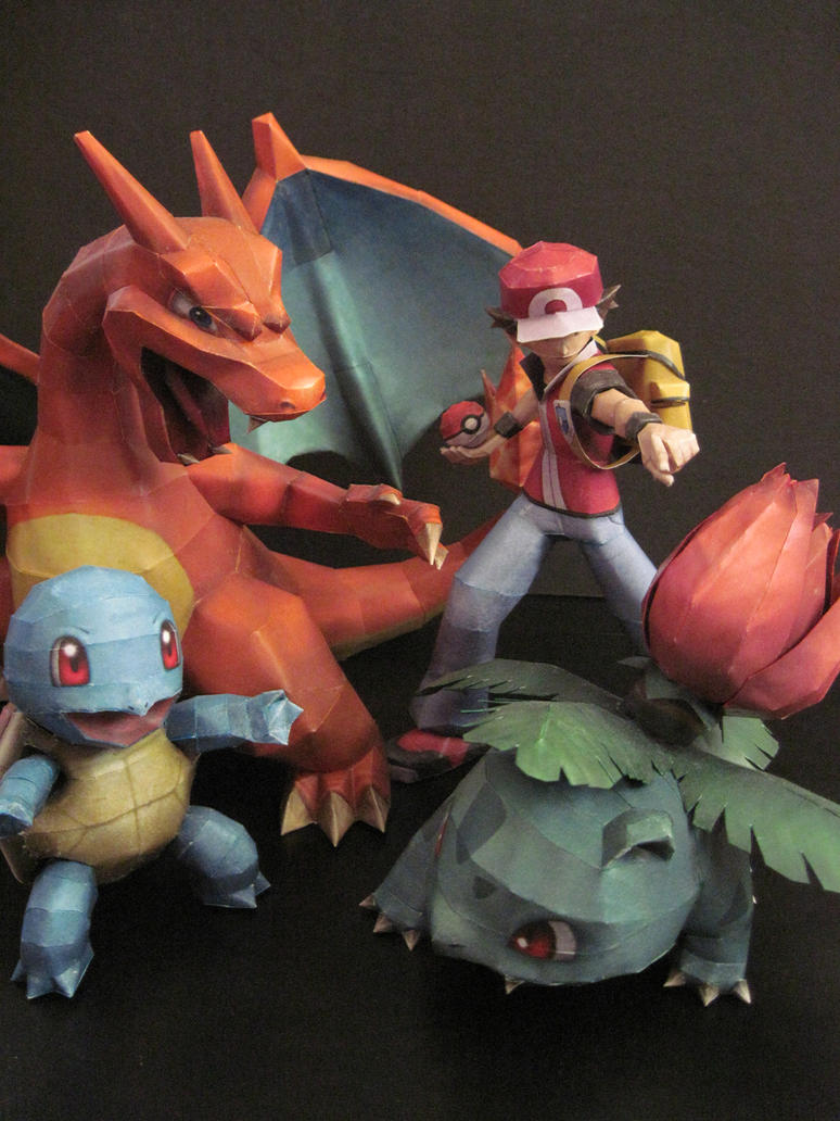Brawl: Charizard, Ivysaur, Squirtle, Red by PrincessStacie