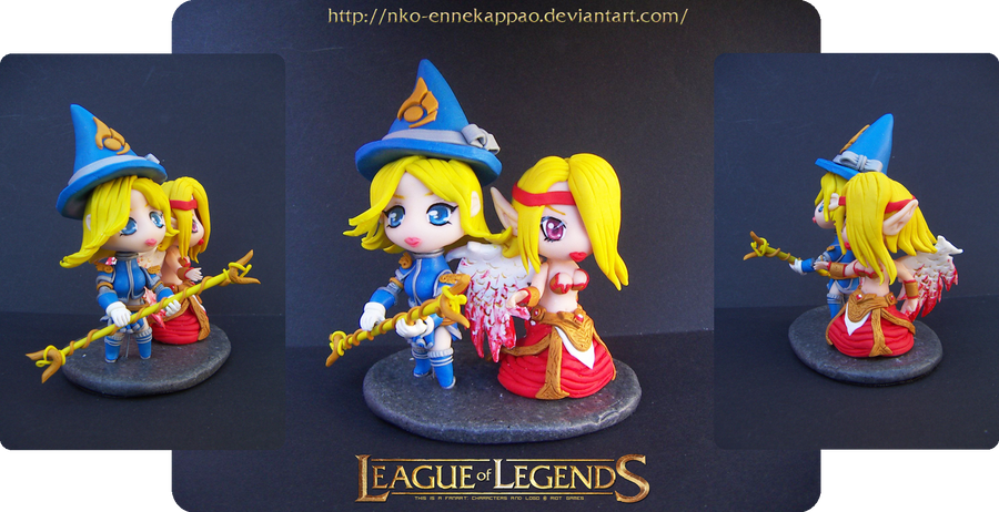 League of Legends - Morgana and Lux Chibis by Nko-ennekappao