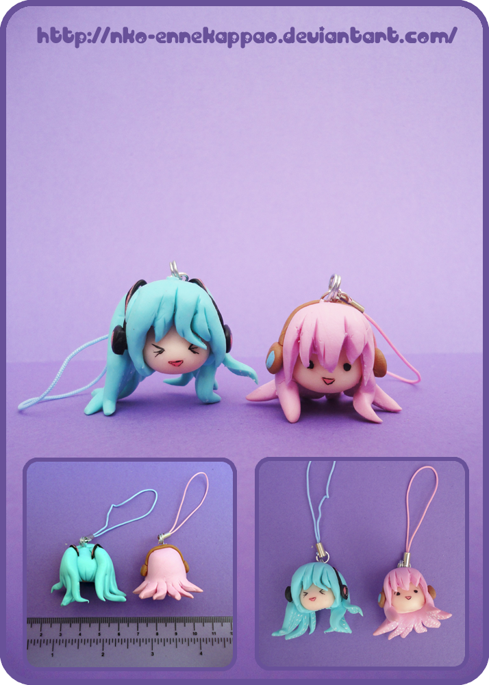 Vocaloid - Tako Luka and Tako Miku phonecharms by Nko-ennekappao