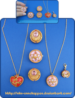 Sailor Moon Brooches - pins and necklaces by Nko-ennekappao