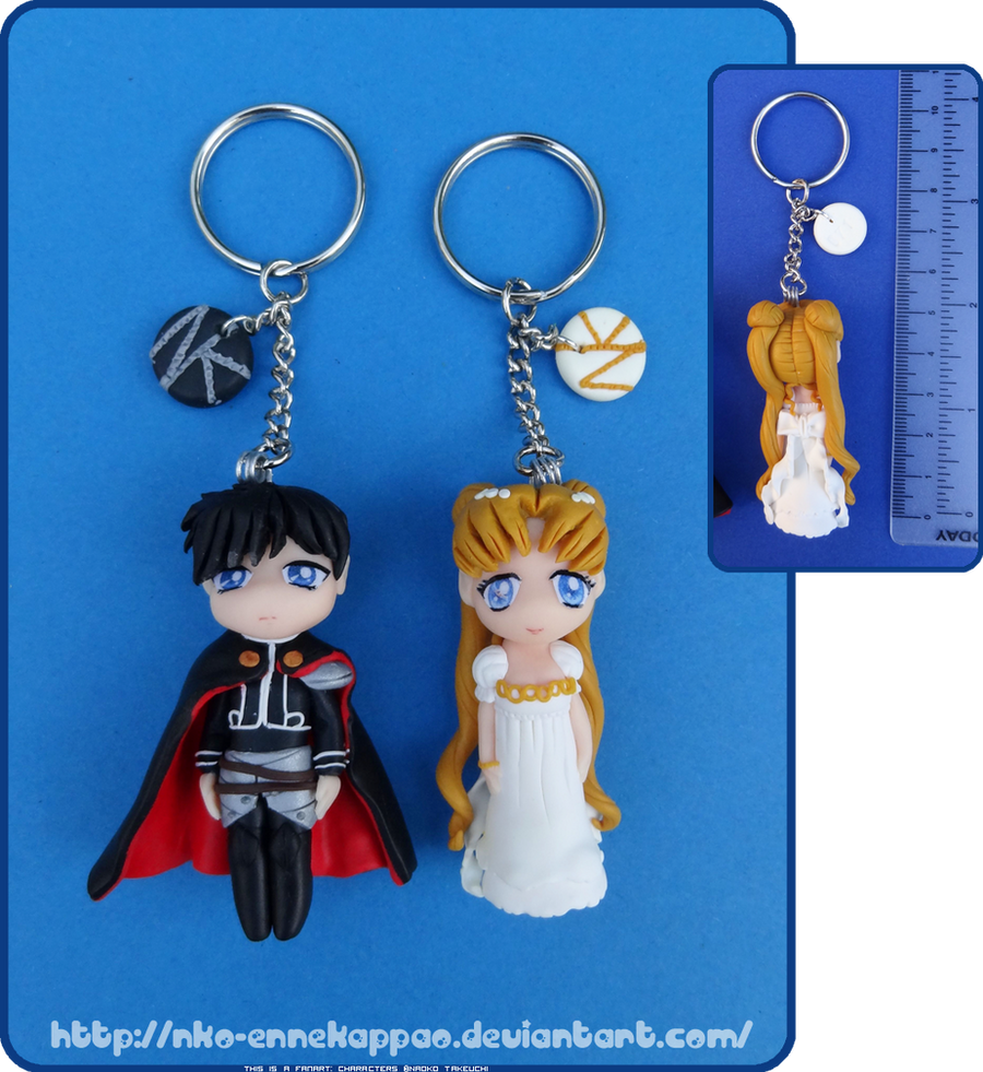 Sailor Moon- Serenity and Endymion chibi keychains by Nko-ennekappao