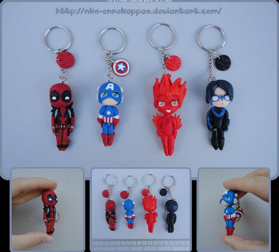 Marvel/DC chibi keychains by Nko-ennekappao