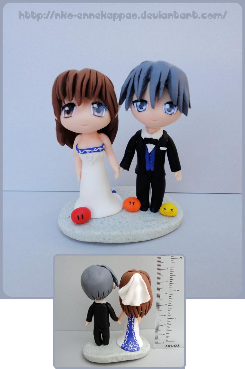 Clannad - Nagisa and Tomoya wedding cake topper by Nko-ennekappao