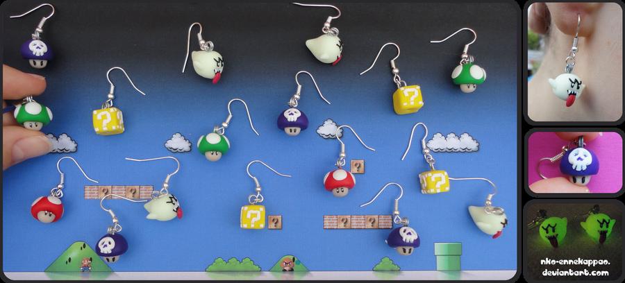 Super Mario earrings by Nko-ennekappao