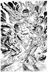 Silhouette vs Captain Marvel Jr. inks