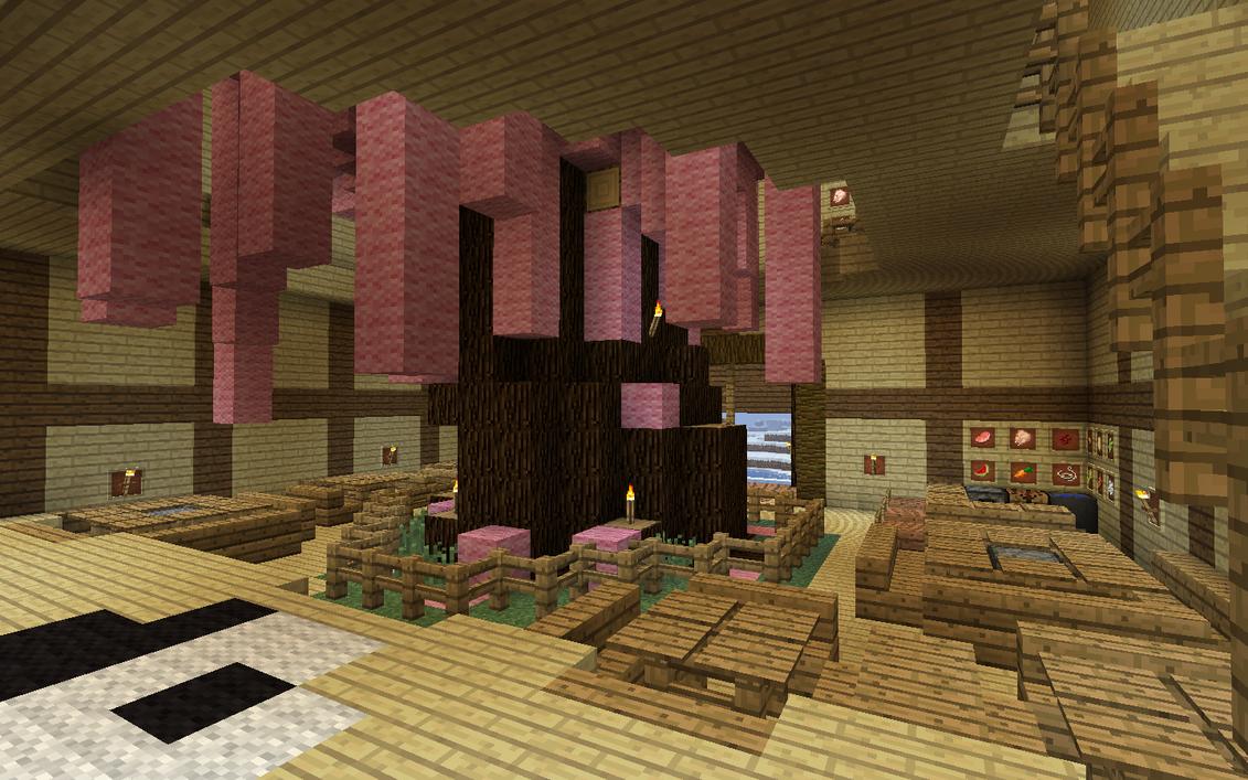 Minecraft zen restaurant 2 by kibapandaro on deviantart for Minecraft interior wall designs