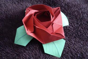 Origami Flat Rose by KibaPandaRo