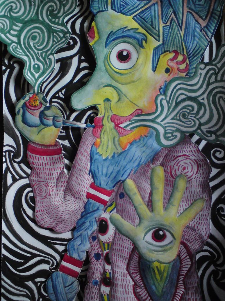 trippy smoking man painting by Eye-Of-Acid on DeviantArt