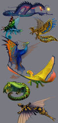 Unusual dragons by Neboveria
