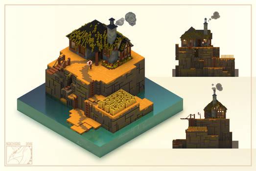 Tiny voxel autumn cabin