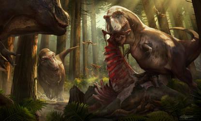 T Rex Feeding Scene by anthon500