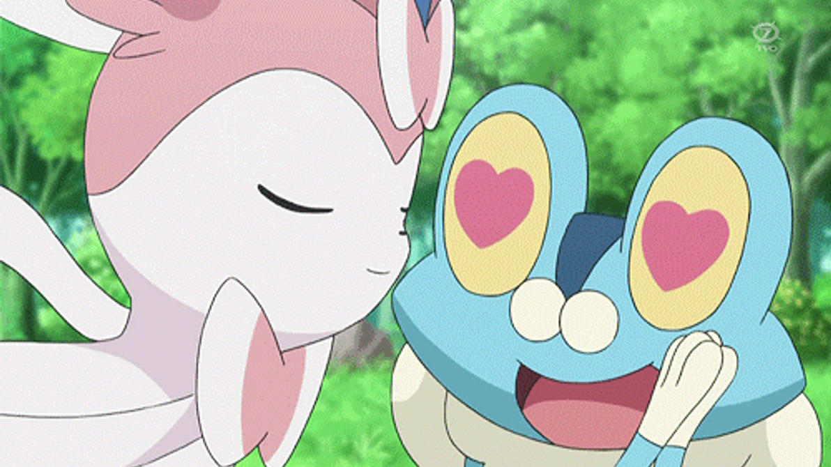 Sylveon kissing Froakie! by ryanthescooterguy
