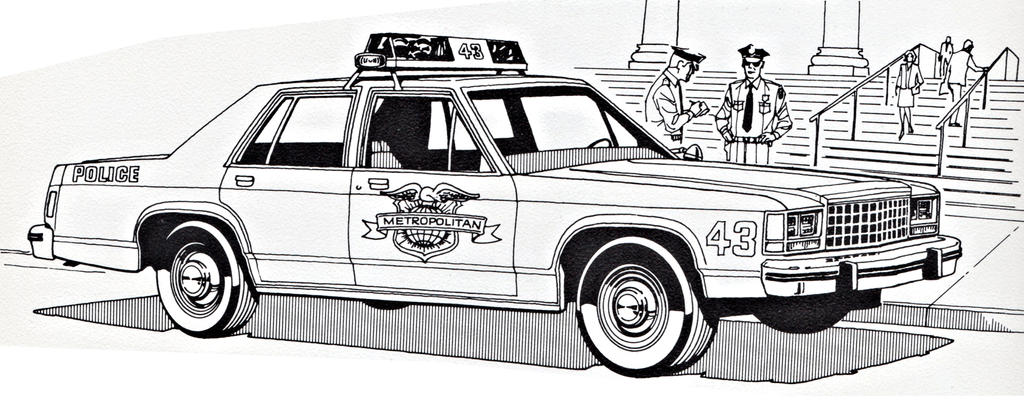 Ford LTD Crown Victoria Police Coloring Sheet #2 by ryanthescooterguy