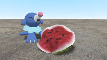 Popplio with a slice of watermelon!