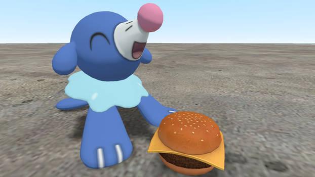 Popplio with a cheeseburger!