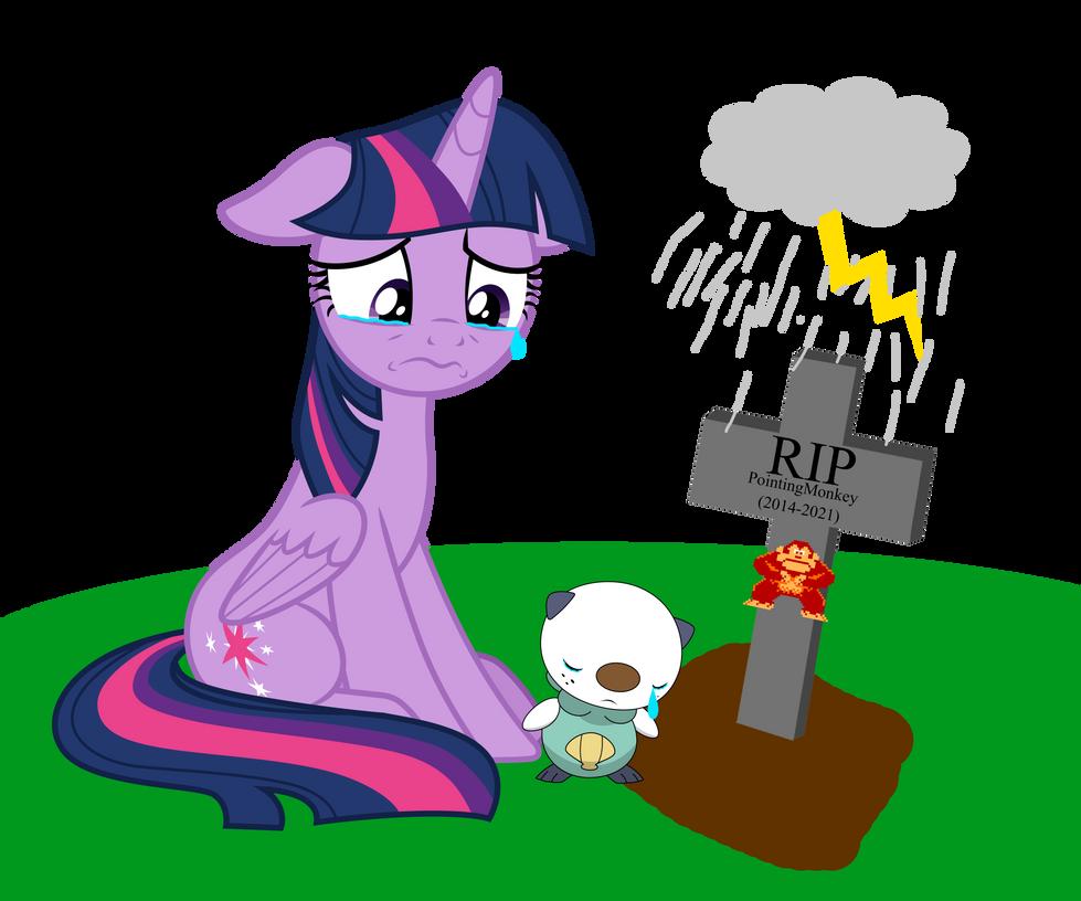 Twilight Sparkle and Oshawott mourn PointingMonkey