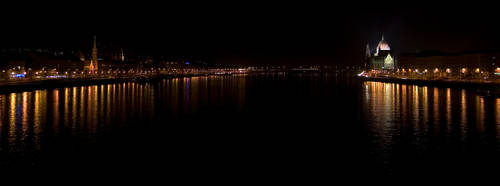 Budapest at night wide by KreatO123