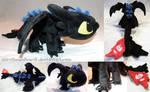 Chibi Toothless Alpha Dragon plushie [SOLD] by ShiroTheWhiteWolf