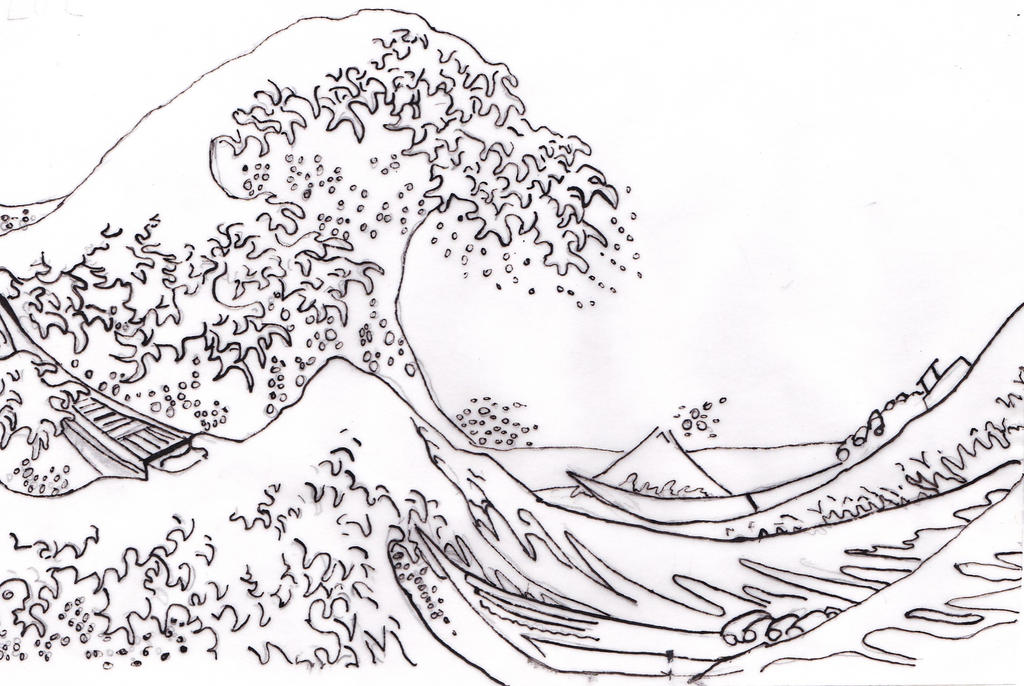 Hokusai wave black and white images for The great wave coloring page