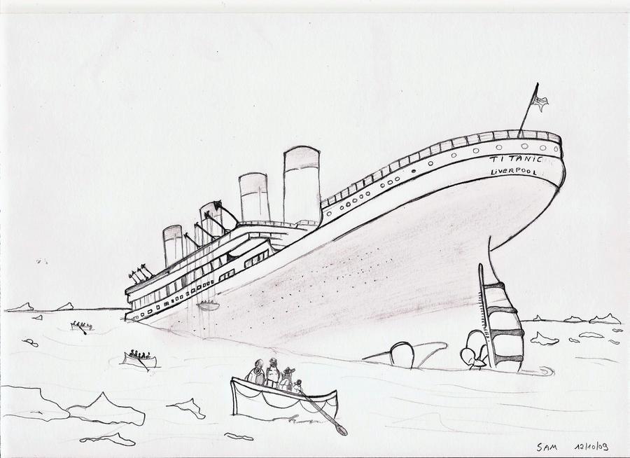 How to draw titanic ship