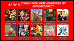 My Top 10 Things I Wish Nintendo Direct Announced by 4xEyes1987