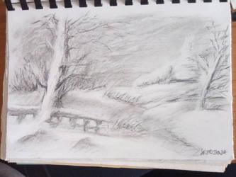charcoal drawing winter landscape by jaskara