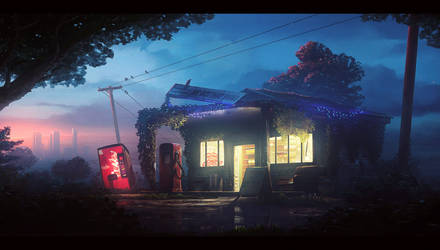 Old gas station by UnidColor