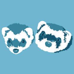 Ferret Portraits In Blue