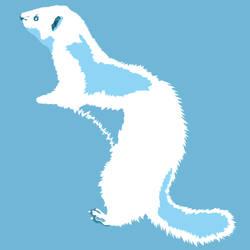 Albino Ferret Side-View