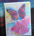 Butterfly and Flower Watercolor Print by Teakberry