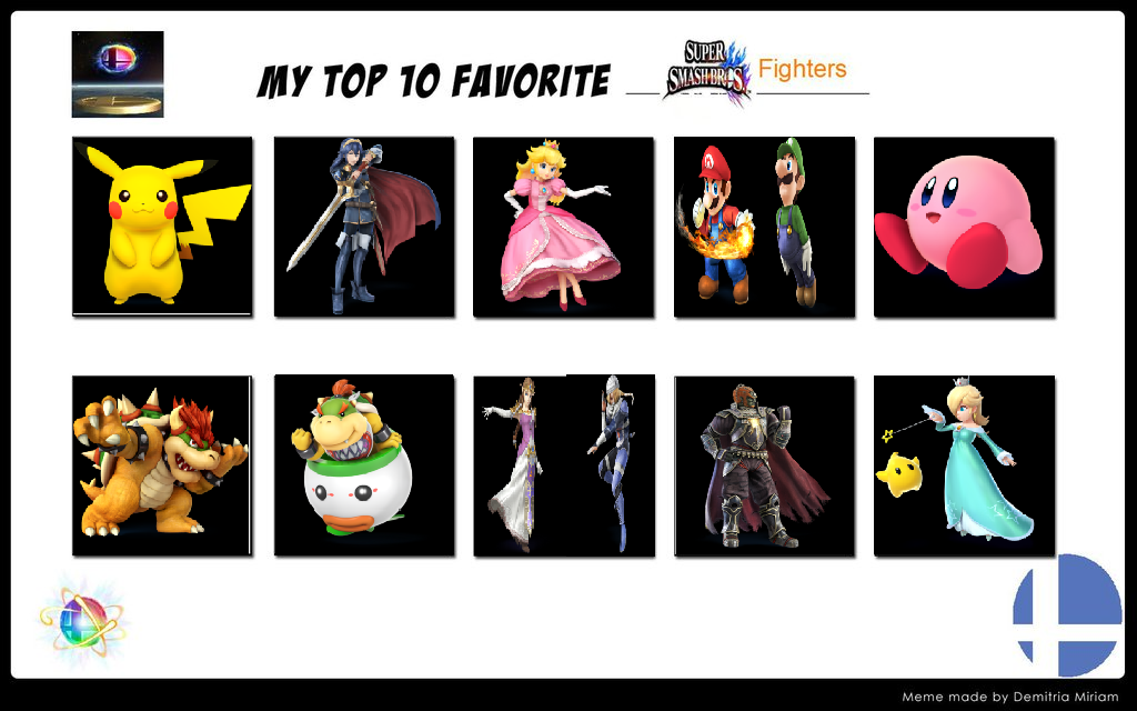 Top 10 favorite ssb fighters meme my way by britishgirl2012