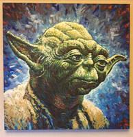 Yoda Star Wars Acrylic Painting by JonARTon