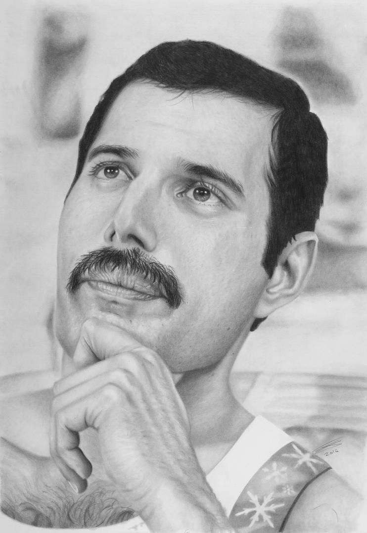 Freddie mercury graphite pencil drawing by jonarton