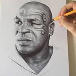 Iron Mike Tyson In Black Ball Point Pen.