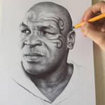 Iron Mike Tyson In Black Ball Point Pen.