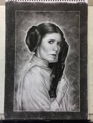 Carrie Fisher as Princess Leia Tribute Drawing by JonARTon
