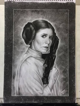 Carrie Fisher as Princess Leia Tribute Drawing