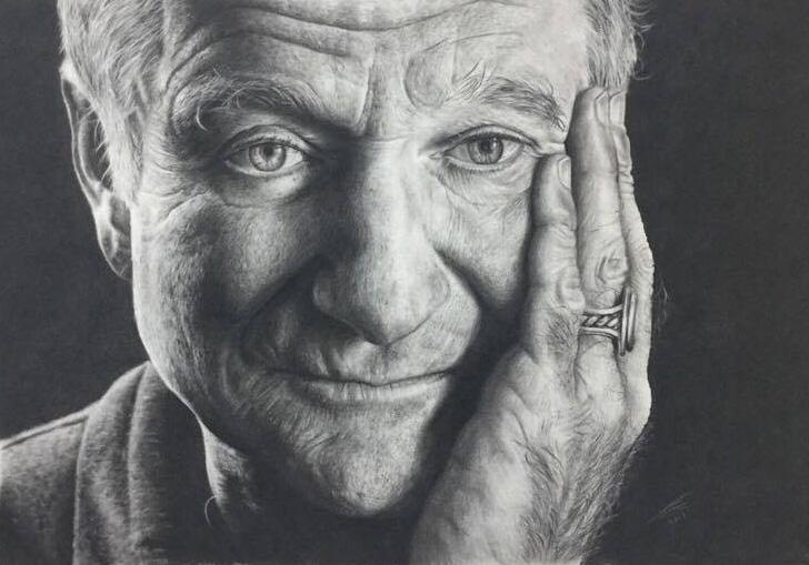 Robin Williams Charcoal Drawing by JonARTon