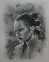 Rey drawn in charcoal