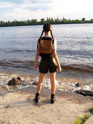 Lara Croft's back near river by TanyaCroft