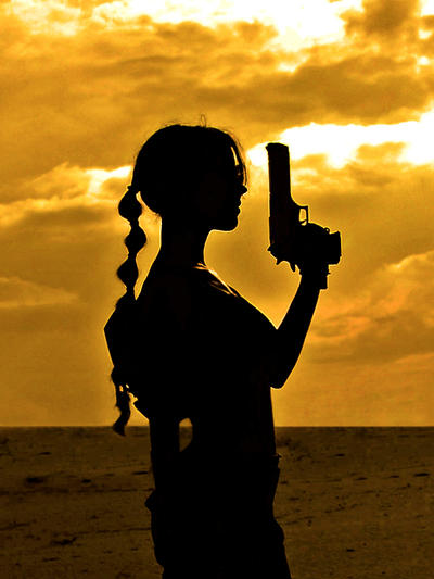 Lara Croft silhouette by TanyaCroft