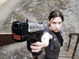 Lara Croft and her gun by TanyaCroft