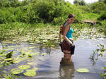 Lara Croft in the swamp