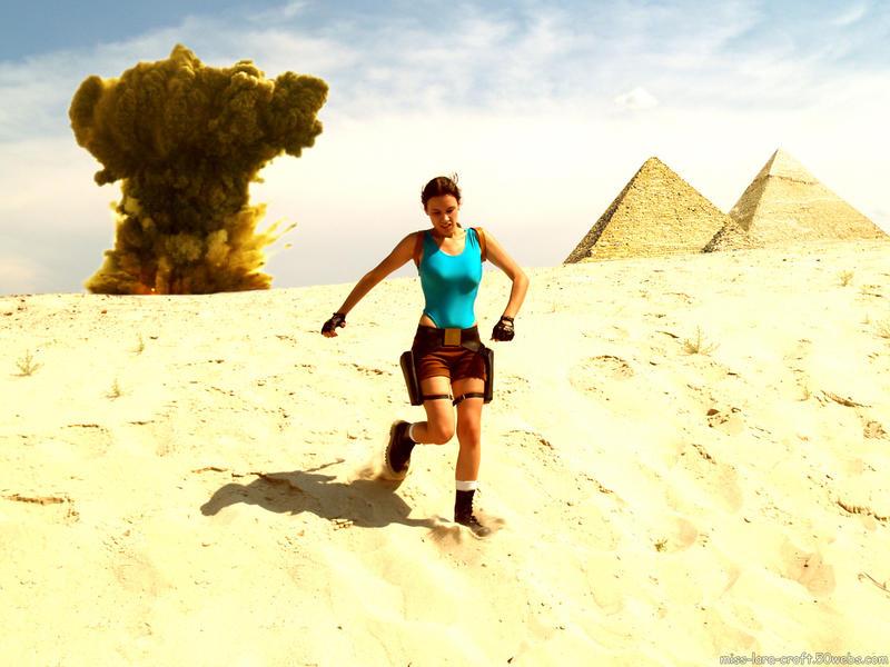 Lara Croft and explosion by TanyaCroft