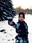 Lara Croft with gun
