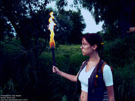 Little Lara Croft with torch by TanyaCroft