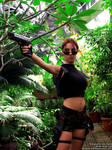 Lara Croft cosplay with gun