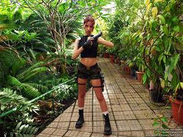 Lara Croft inside bio-research facility by TanyaCroft